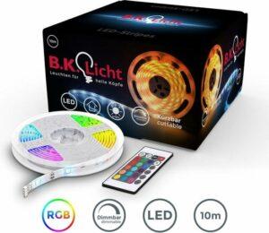 B.K.Licht LED strip 10 meter - lichtstrip met 16 kleuren - dimbaar - incl. afstandsbediening